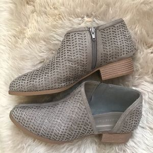 NWT NIB Booties Faux Suede perforated look